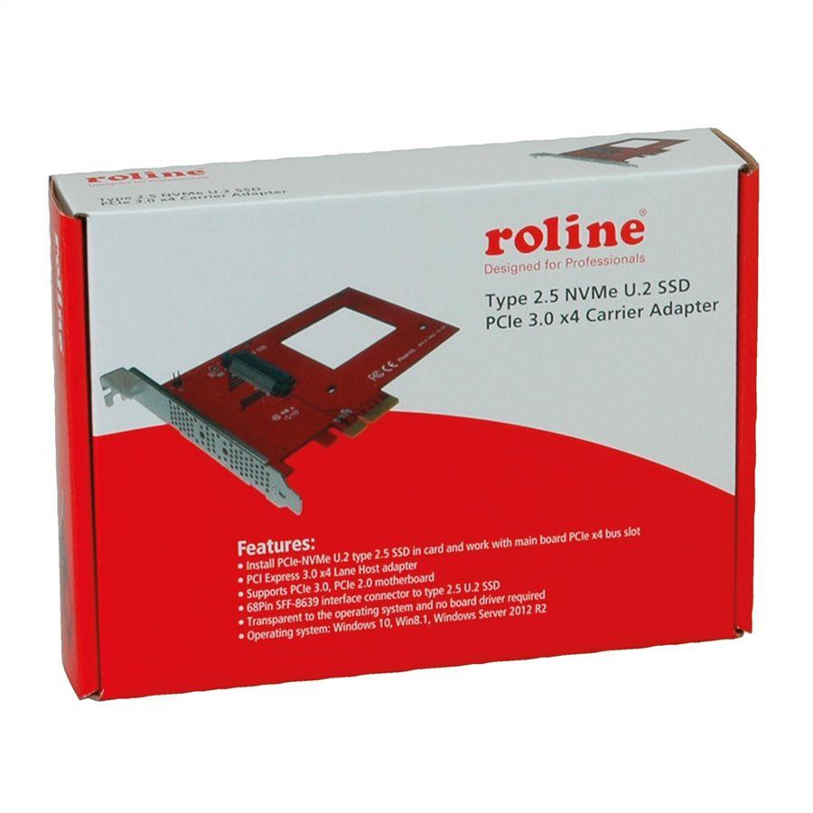"ROLINE 2 5"" NVMe U 2 SSD PCIe 3 0 x4 Carrier Adapter"
