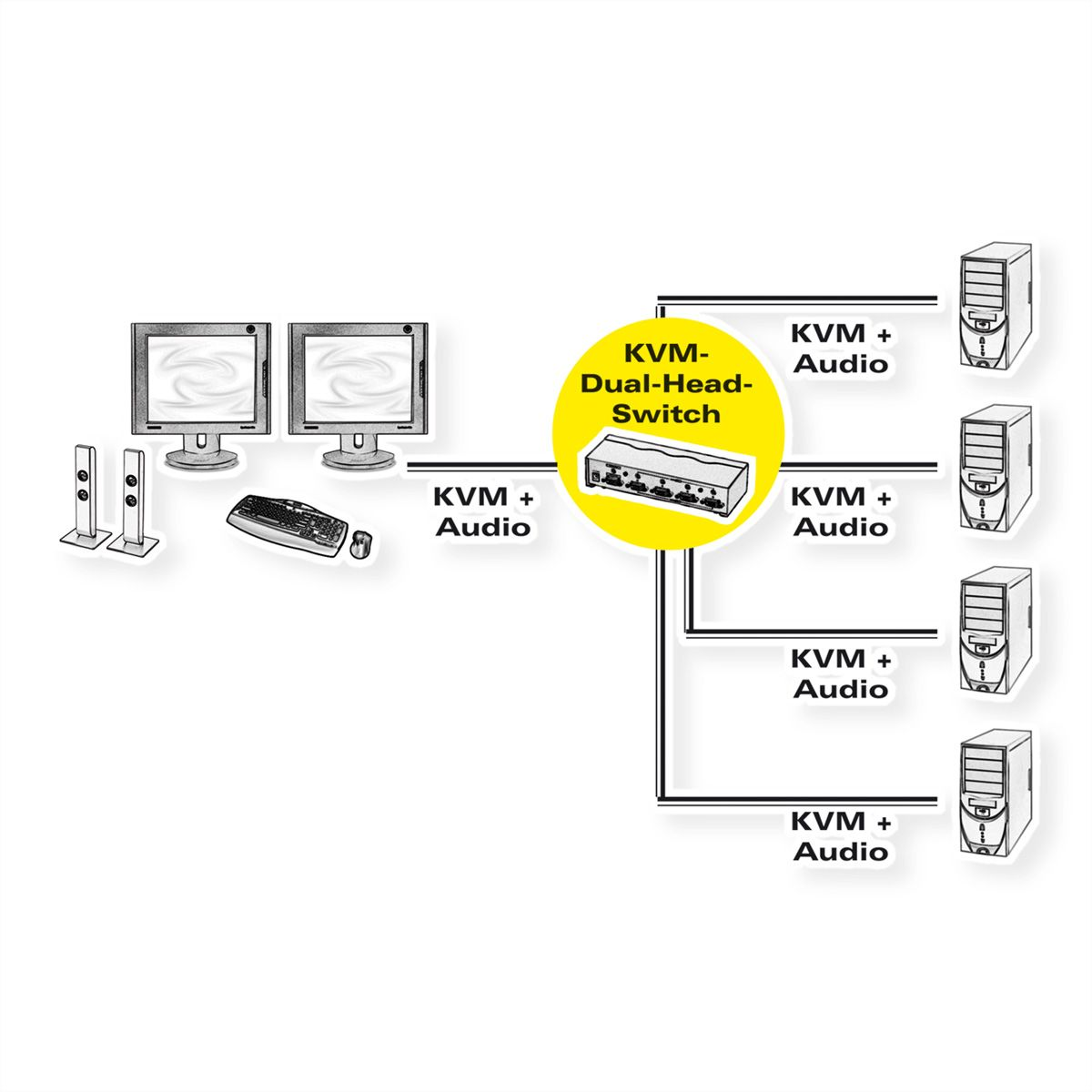roline dual head kvm switch  1 user - 4 pcs  dvi  audio